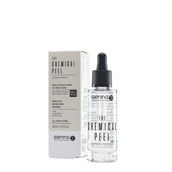 The Chemical Peel by Sienna X. The image shows the product bottle stood to the right and in front of the product box packaging.
