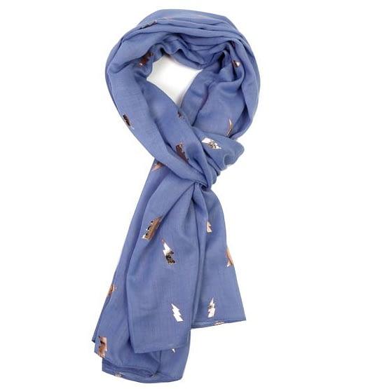 rose gold lightning motif on a blue scarf