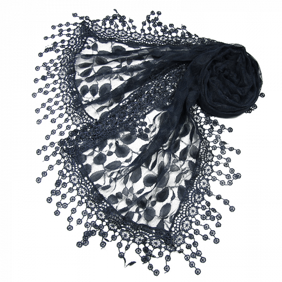 pretty lace leaves scarf in navy