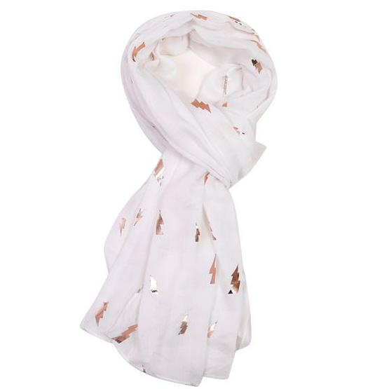 rose gold lightning motif on a white scarf