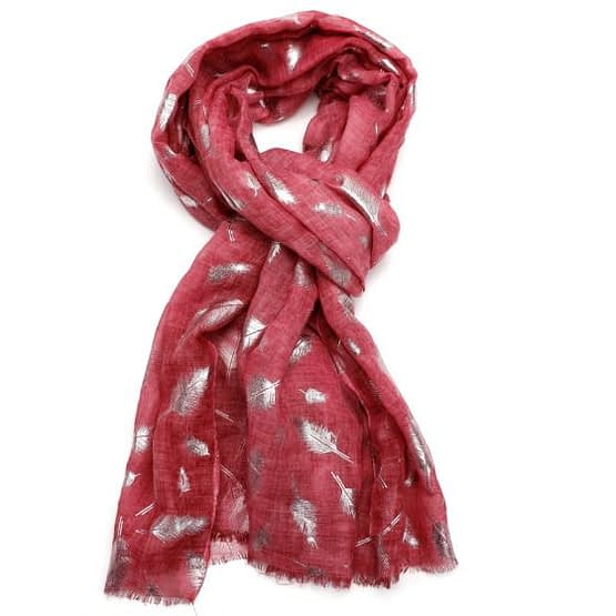 feather tie dye scarf in red