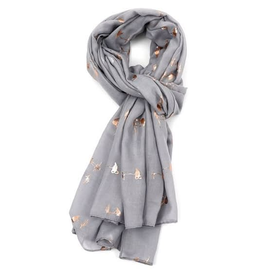 flamingo rose gold scarf in silver colour