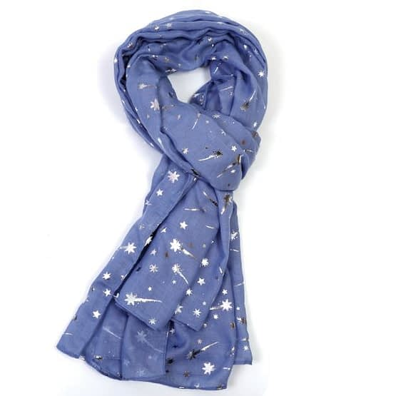 foil shooting star scarf in pale blue