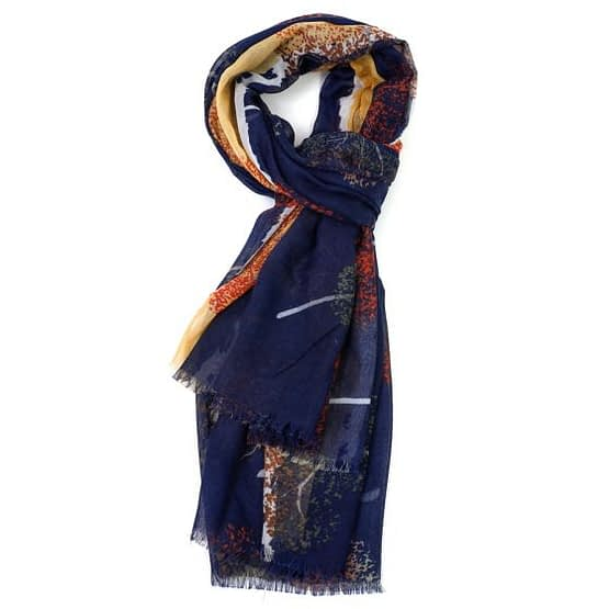 scarf with trees on it in Navy