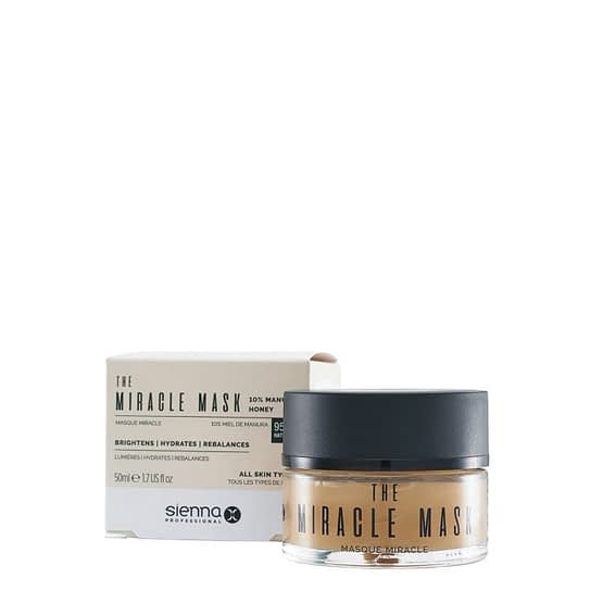 The Miracle Mask by Sienna X. This image shows the product jar stood to the right of the product box packaging.
