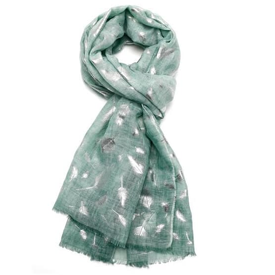 feather tie dye scarf in green