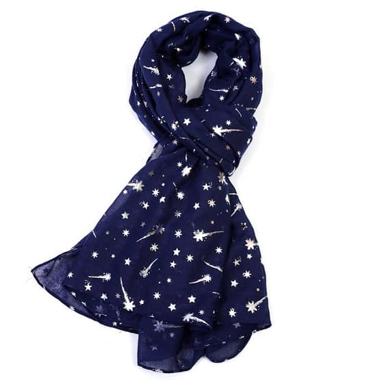 foil shooting stars scarf in navy