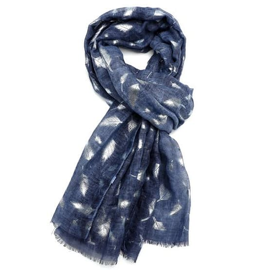 feather tie dye scarf in navy