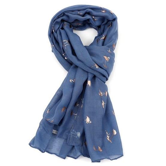 flamingo rose gold scarf in denim blue