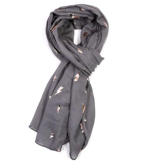 rose gold lightning motif on a dark grey scarf