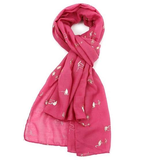 flamingo rose gold motif scarf in hot pink
