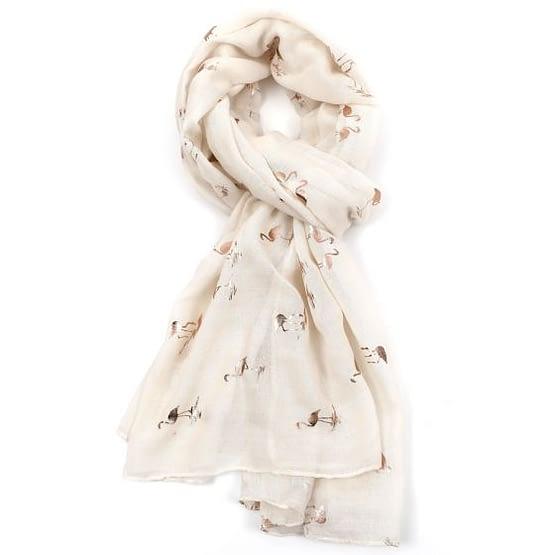 flamingo rose gold motif scarf in cream