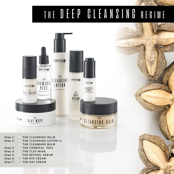 Deep Cleanse. Sienna X. Saver Bundle. The image shows the bottles and jars of the contents of the bundle.