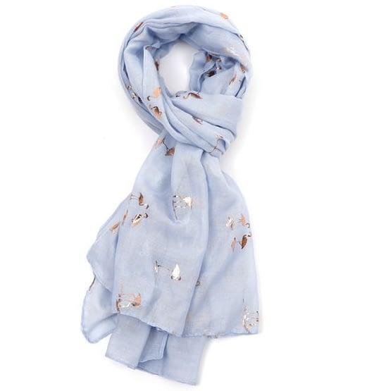 flamingo rose gold motif scarf in sky blue