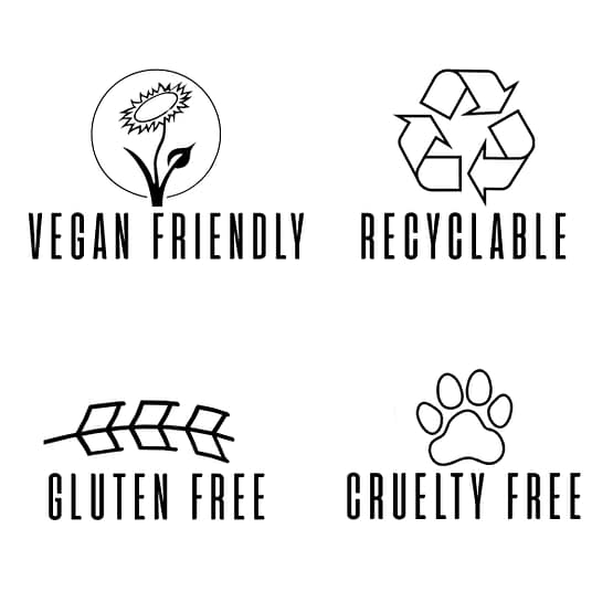 Sienna x product logos. This image shows four logos. Vegan friendly is a sunflower. Recyclable is the 3 arrows in a triangle. Gluten free is a blade of wheat laid down. Cruelty free is a paw print.