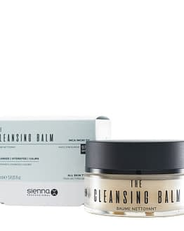 The Cleansing Balm by Sienna X. The image shows the jar of product placed front and to the right of the product box packaging.