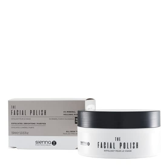 The Facial Polish by Sienna X. The image shows a jar of the product placed to the right and in front of the box packaging.