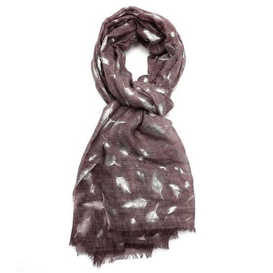 feather tie dye scarf in purple