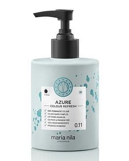 Maria Nila colour refresh bottle with black pump. Azure hair colour