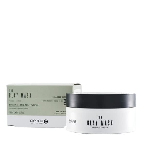 The Clay Mask by Sienna X. The image shows the product tub sat to the right and in front of the product box packaging.
