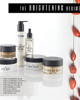 Brightening regime by sienna x. The image shows multiple jars and bottles