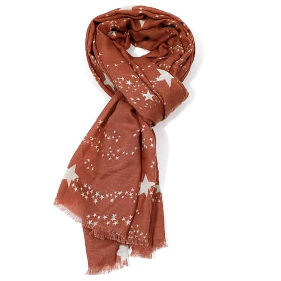 white star motif scarf in a dusky pink colour