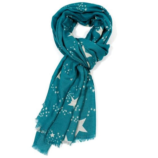 White star motif scarf in turquoise