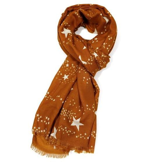 white star motif scarf in dark mustard colour