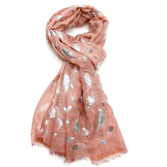feather tie dye scarf in pink
