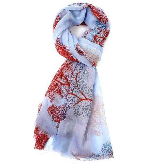 scarf with trees on it in sky colour