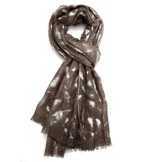 feather tie dye scarf in brown