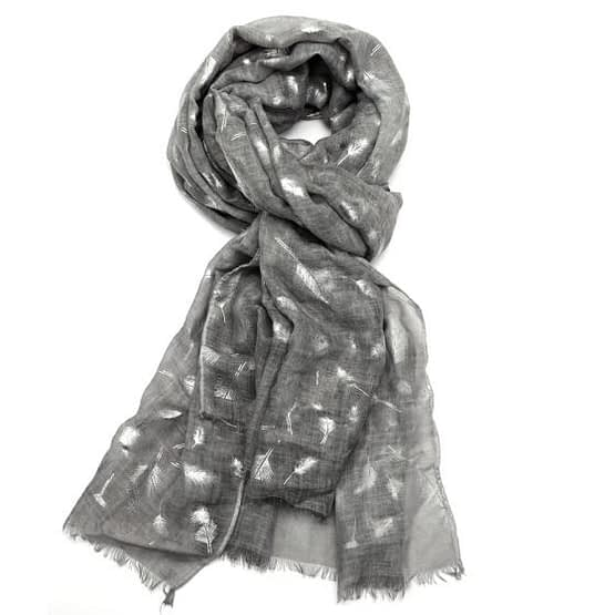feather tie dye scarf in grey