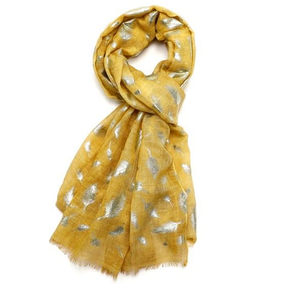 feather tie dye scarf in yellow