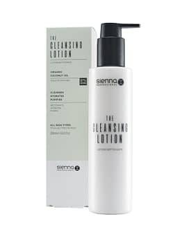 Cleansing lotion for the face. Tall cylindrical white bottle with black pump lid. This is positioned to the right slightly in front of the packaging box. All Sienna X packaging is recyclable.