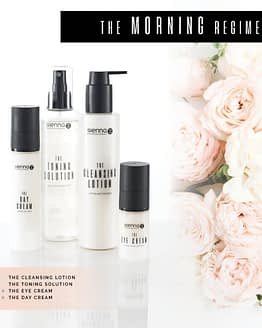 Saver Bundle. Sienna X. The Morning Regime. The image shows 4 product bottles for your morning routing. White in colour with black lids.