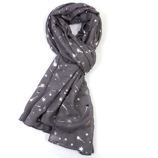 foil shooting stars scarf in grey