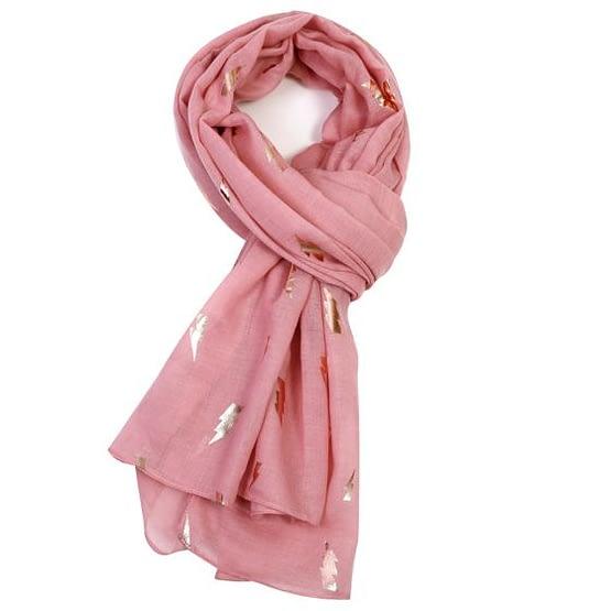 rose gold lightning motif on a pink scarf