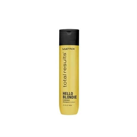 hello blondie shampoo bottle yellow with black label and black cap