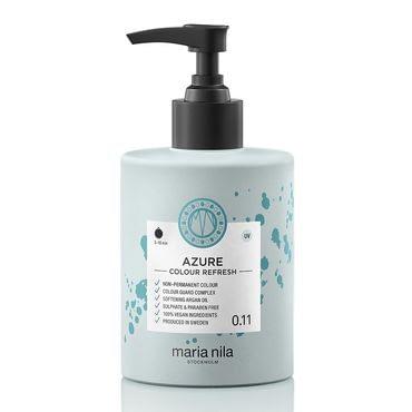 Maria Nila colour refresh bottle with black pump. Azure hair colour